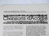 """Image - Record, """"Chansons d'Acadie"""